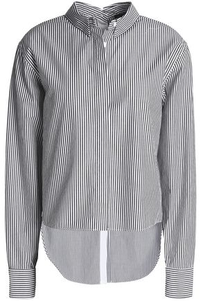 WOMAN STRIPED COTTON-POPLIN SHIRT BLACK