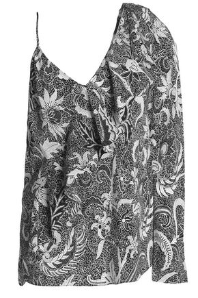 DIANE VON FURSTENBERG One-shoulder ruffled printed silk blouse