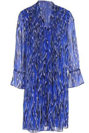 DIANE VON FURSTENBERG Pleated printed silk-georgette mini dress