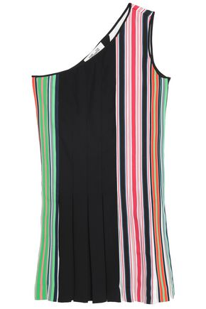 DIANE VON FURSTENBERG One-shoulder striped knit mini dress