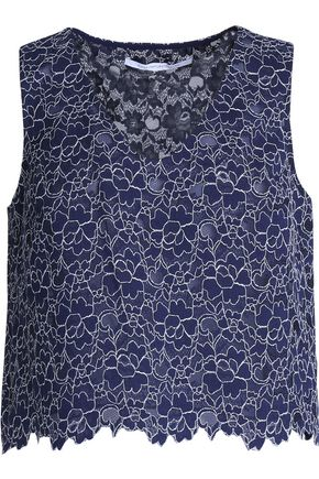 DIANE VON FURSTENBERG Cropped cotton-blend lace top