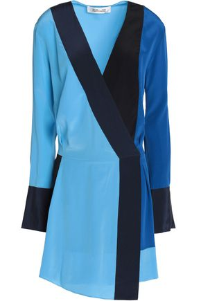 DIANE VON FURSTENBERG Color-block silk-georgette wrap mini dress