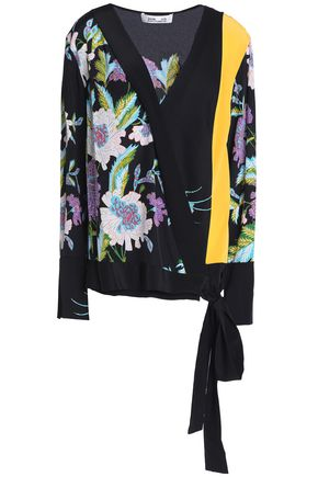 DIANE VON FURSTENBERG Floral-print silk wrap blouse