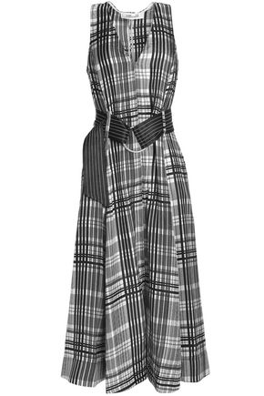 DIANE VON FURSTENBERG Pleated checked silk-twill midi dress