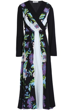 DIANE VON FURSTENBERG Pleated printed silk wrap midi dress
