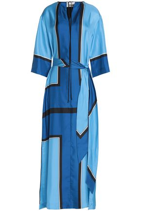 DIANE VON FURSTENBERG Color-block silk-twill gown