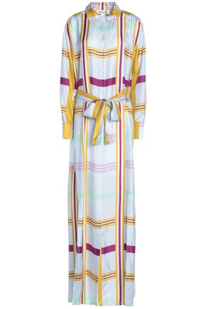 DIANE VON FURSTENBERG Checked silk maxi shirt dress