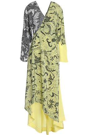 DIANE VON FURSTENBERG Wrap-effect paneled printed silk midi dress