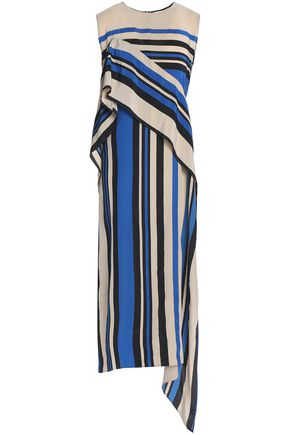 DIANE VON FURSTENBERG Draped striped silk-faille midi dress