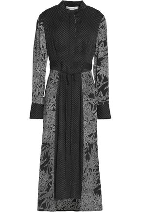DIANE VON FURSTENBERG Paneled printed silk-blend midi dress