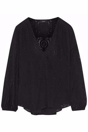 THEORY Embroidered gauze blouse