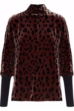 TIBI Leopard-print velvet turtleneck top