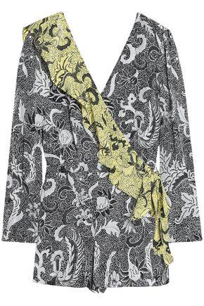 DIANE VON FURSTENBERG Wrap-effect ruffle-trimmed floral-print silk playsuit