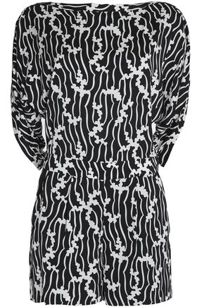 DIANE VON FURSTENBERG Printed silk-blend playsuit