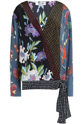 DIANE VON FURSTENBERG Printed stretch-silk crepe de chine wrap blouse