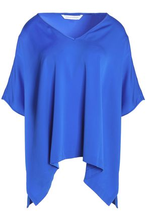 DIANE VON FURSTENBERG Draped silk-blend blouse