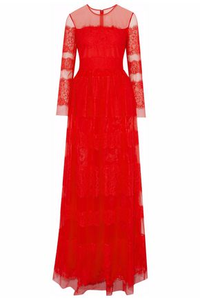 MIKAEL AGHAL Paneled embroidered tulle gown