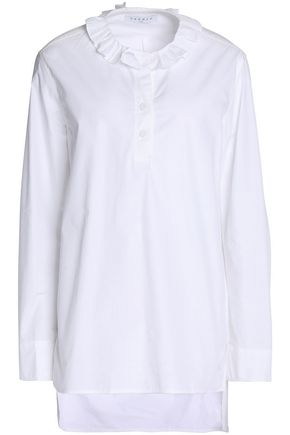 SANDRO Ruffled cotton-poplin shirt