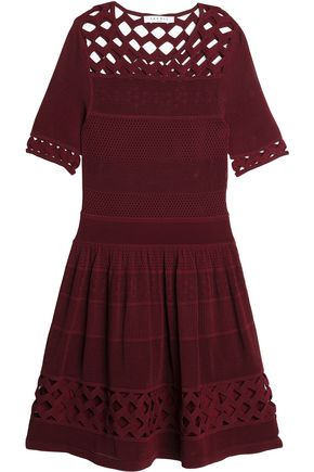 SANDRO Laser cut-panelled pointelle-knit mini dress