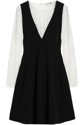 SANDRO Layered corded lace and crepe mini dress