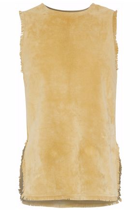 DEREK LAM Frayed asymmetric suede top