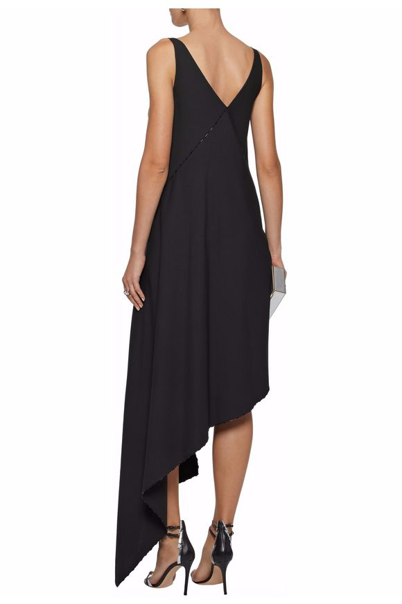 Asymmetric draped stretch-crepe dress | ZAC POSEN | Sale up to 70% off |  THE OUTNET