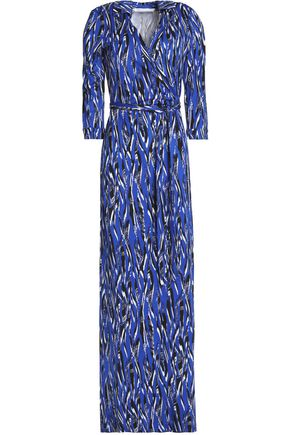 DIANE VON FURSTENBERG Printed silk-cady wrap maxi dress