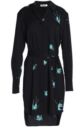 DIANE VON FURSTENBERG Printed stretch-silk crepe de chine shirt dress