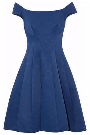 ZAC POSEN Flared pleated faille dress
