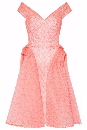 ZAC POSEN Pleated embroidered organza gown