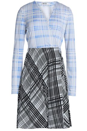 DIANE VON FURSTENBERG Printed silk-jersey and crepe de chine wrap mini dress
