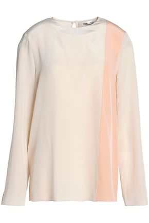 DIANE VON FURSTENBERG Color-block silk-crepe blouse