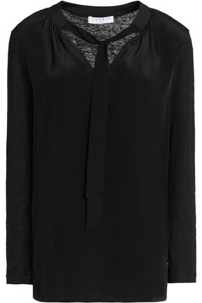 SANDRO Tie-front silk and linen-blend blouse
