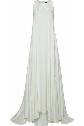 ZAC POSEN Asymmetric metallic-trimmed silk gown