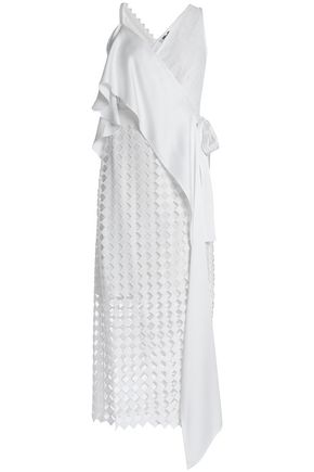 DIANE VON FURSTENBERG Ruffled crepe de chine and lace wrap midi dress
