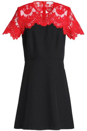 SANDRO Lace-paneled twill mini dress