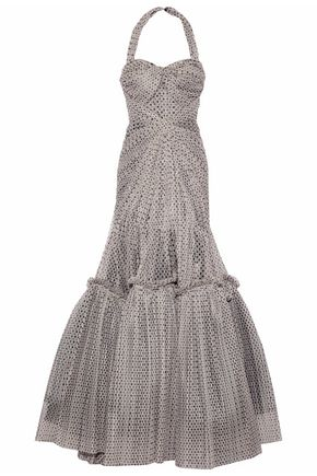 ZAC POSEN Ruched printed tulle halterneck gown