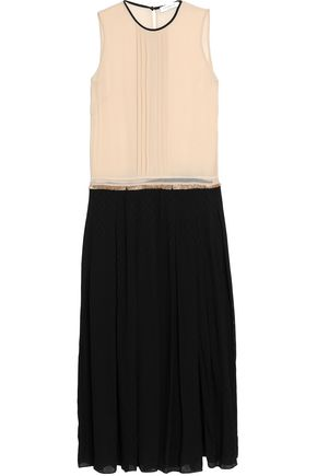 SANDRO Layered fringed voile and jacquard midi dress