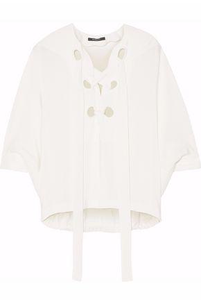 DEREK LAM Lace-up silk-crepe blouse
