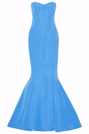 ZAC POSEN Strapless fluted silk-satin gown