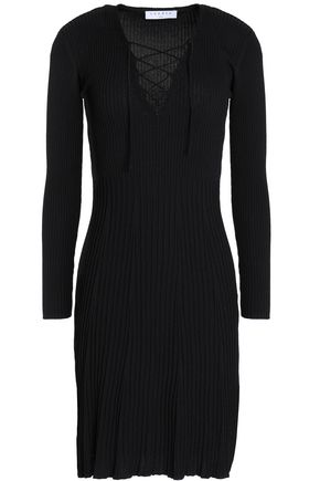SANDRO Day silk-trimmed lace-up ribbed-knit mini dress