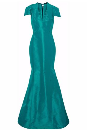ZAC POSEN Fluted silk-faille gown