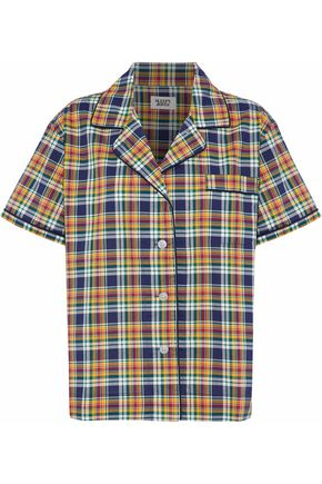 SLEEPY JONES Checked cotton-poplin pajama top