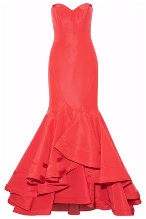 ZAC POSEN Strapless ruffled silk-satin gown