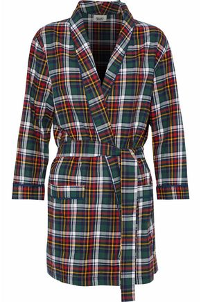 SLEEPY JONES Belted checked flannel pajama top