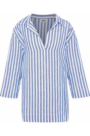 SLEEPY JONES Striped linen-piqué pajama top