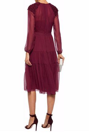 MIKAEL AGHAL Appliquéd silk-chiffon midi dress