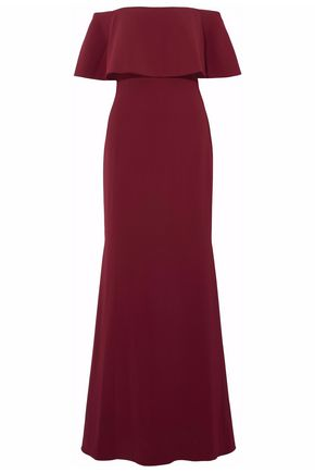 BADGLEY MISCHKA Off-the-shoulder lace-up velvet-trimmed crepe gown