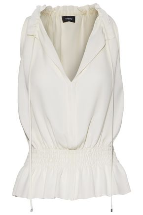 THEORY WOMAN SHIRRED SILK CREPE DE CHINE TOP IVORY ... 505f3238d35