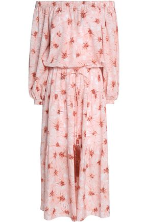 ALEXIS Off-the-shoulder printed crepe midi dress